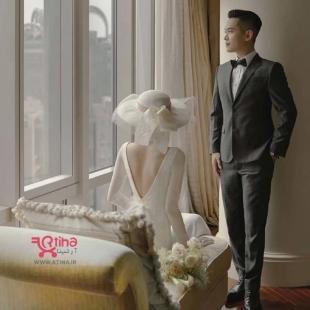 لباس عروس با کلاه لبه دار
