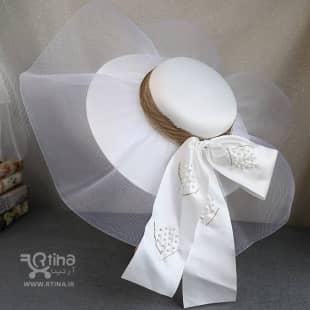 عکس کلاه عروس فرانسوی بزرگ مدل توری (کلاه ساحلی عروس)