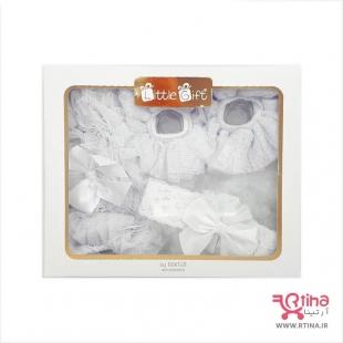 ست نوزادی (پاپوش، تل و شورت پرنسسی نوزاد مدل تور دار)