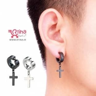 گوشواره صلیب مردانه زنانه/ پیرسینگ بدون سوراخ آویز