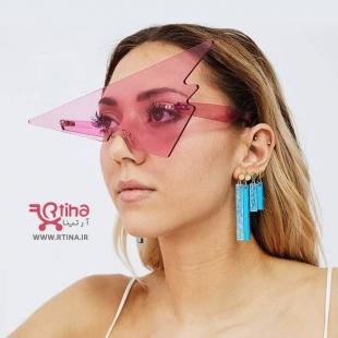 عینک فانتزی جدید با شیشه رنگی مثلثی (زنانه و دخترانه)