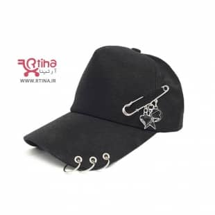کلاه اسپرت دخترانه حلقه دار با تزئین سنجاق قفلی