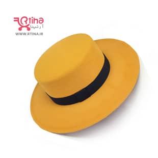 عکس کلاه مدل خاخامی سر تخت (مردانه و زنانه) زرد/خردلی
