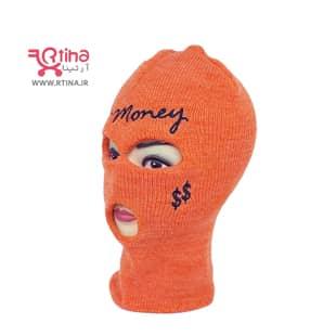 کلاه برای صورت (کلاه فیس) بافتنی دو لایه/ رنگ نارنجی