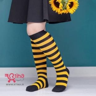 عکس جوراب ساق بلند راه راه مدل زرد مشکی (دو سایز)