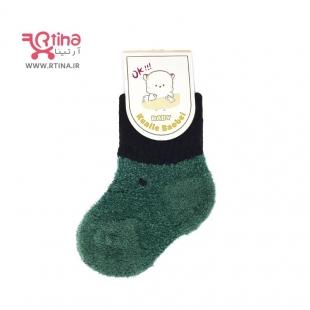 جوراب بچه گانه زمستانی فانتزی رنگ سبز تیره