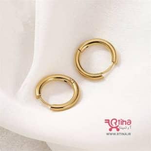 گوشواره حلقه ای ساده استیل رنگ طلایی (بچه گانه تا بزرگسال)