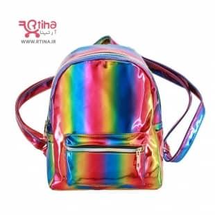 عکس کوله پشتی هولوگرامی دخترانه مدل هفت رنگ