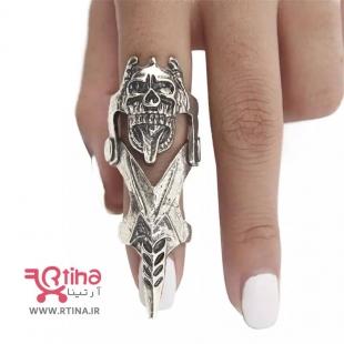 عکس انگشتر فلزی پسرانه/ دخترانه/ زنانه بلند مدل اسکلتی
