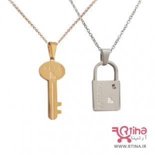 گردنبند قفل و کلید ستِ دوستی (دخترانه و پسرانه) +2عدد زنجیر رایگان