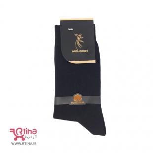 جوراب ساقدار مردانه مشکی ساده مدل Melorin