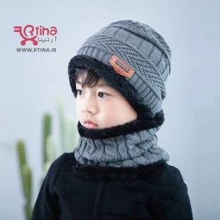 کلاه و شال گردن بچه گانه دخترانه/ پسرانه رنگ خاکستری