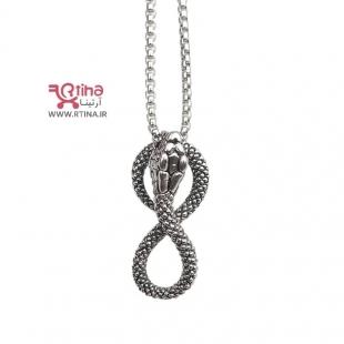 گردنبند اسپرت پسرانه/ دخترانه طرح مار+ زنجیر بلند 70سانتیمتری)