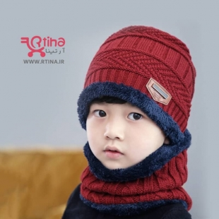 کلاه و شال بافتنی بچگانه رنگ زرشکی (شال گردن حلقه ای +کلاه)
