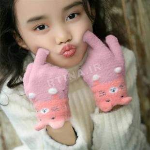 دستکش بافتنی بچه گانه دخترانه/ پسرانه گوش دار