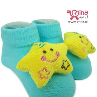 عکس جوراب نوزادی عروسک دار طرح ستاره (دختر و پسر)