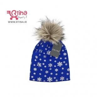 کلاه زمستانی دخترانه اسپرت, پوم دار آبی طرح برف, بچه گانه تا بزرگسال