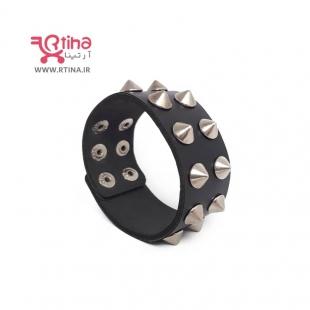 دستبند چرم پهن پسرانه/ دخترانه مدل اسپایک دو ردیفه