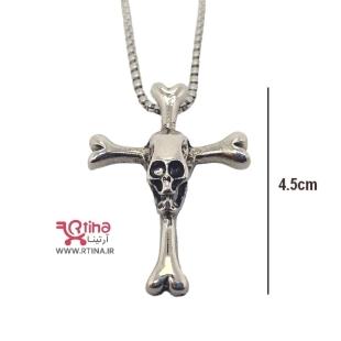 گردنبند صلیب پسرانه و دخترانه طرح اسکلتی +زنجیر رایگان