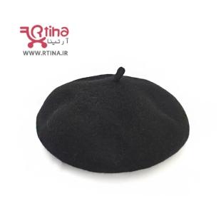 کلاه مدل فرانسوی پشمی زنانه دخترانه و پسرانه رنگ مشکی (قابل فرم دهی)