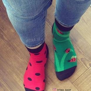 جوراب لنگه به لنگه  کفشدوزک