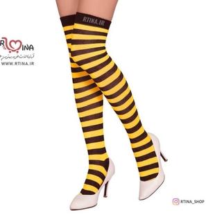 جوراب ساق بلند راه راه زرد مشکی