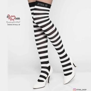 جوراب ساق بلند راه راه سفید مشکی