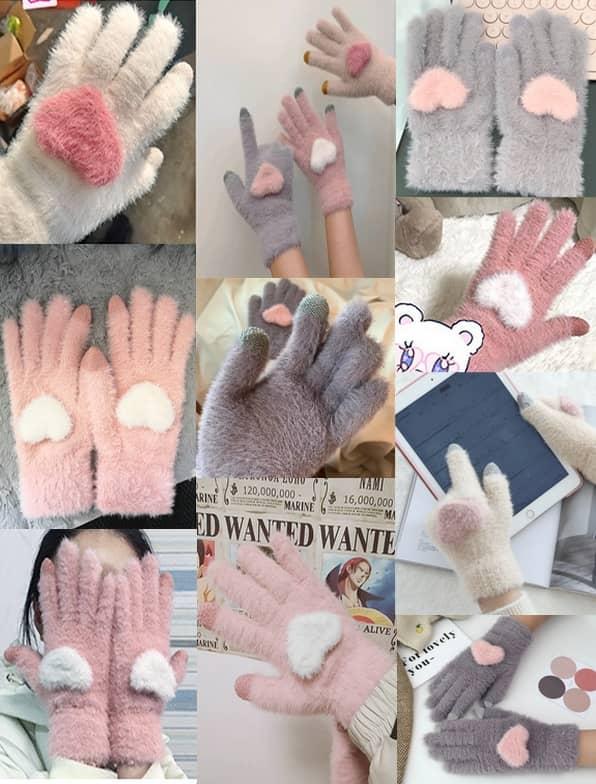 خرید دستکش 5 انگشتی مدل قلب