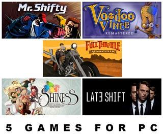 دانلود بازی های Shiness The Lightning Kingdom ، Late Shift ، Full Throttle Remastered ، Voodoo Vince Remastered و Mr Shifty برای کامپیوتر