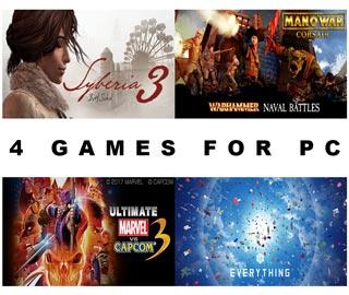 دانلود بازی های Man O' War Corsair ، Ultimate Marvel vs Capcom 3 ، Everything و Syberia 3 برای کامپیوتر