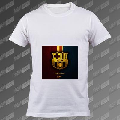تی شرت مردانه سفید FC Barcelona TS-00000006