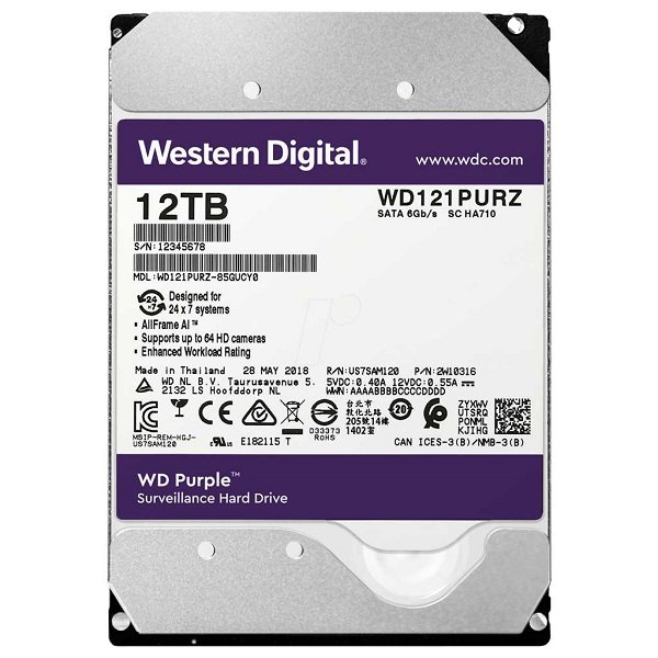 هارددیسک اینترنال وسترن دیجیتال مدل Purple WD100PURZ 12TB
