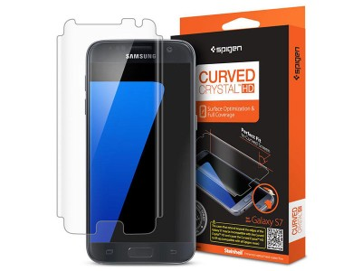 محافظ صفحه نمایش اسپیگن Spigen Screen Protector Curved Crystal HD For Samsung Galaxy S7