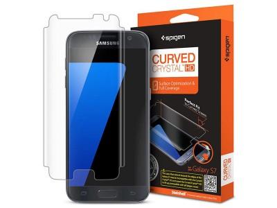 محافظ صفحه نمایش اسپیگن Spigen Screen Protector Curved Crystal HD For Samsung Galaxy S7