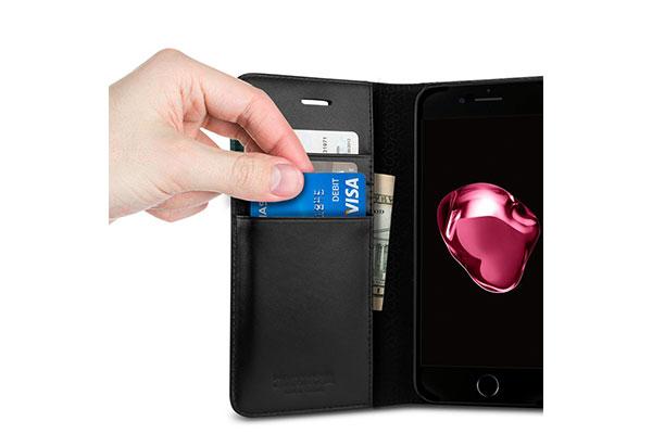 قیمت خرید کیف محافظ چرمی کلاسوری ولنتاین Valentinus اورجینال اسپیگن برای گوشی اپل ایفون 7 پلاس