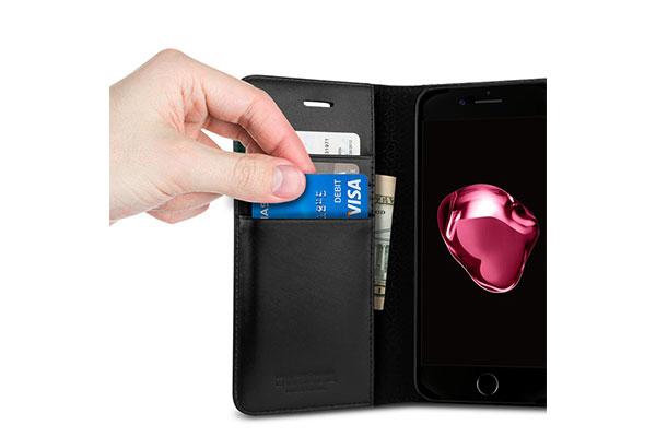قیمت خرید کیف محافظ چرمی کلاسوری ولنتاین Valentinus اورجینال اسپیگن برای گوشی اپل ایفون 7