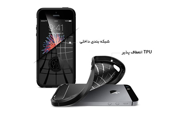 قیمت خرید قاب محافظ رگ ارمور rugged armor اورجینال اسپیگن برای گوشی اپل ایفون اس ای se