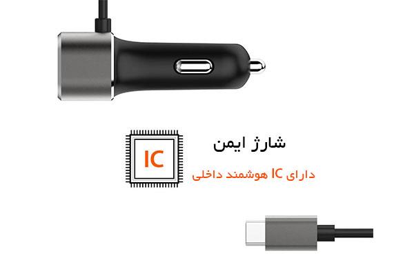 قیمت خرید شارژر فندکی سریع یو اس بی و تایپ سی Type-C اورجینال اسپیگن مدل F25QC