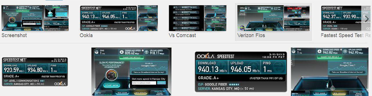 سرعت اینترنت Google Fiber