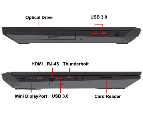 بررسی و خرید لپ تاپ گیمینگ و گرافیک دار OMEN by HP 17X - پردازنده i7 7700HQ - رم 8GB - هارد 256GB SSD M.2 - گرافیک NVIDIA GeForce GTX 1070 / 1060 / 1050 8 / 6 / 2 GB - نمایشگر 17.3 اینچ FHD - دارای پورت Thunderbolt، Mini Display ،HDMI - باتری 8سلولی - کیبورد با نور پس زمینه
