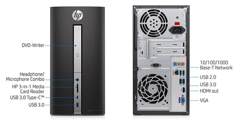 کیس استوک HP Pavilion 570-p023w سایز مینی تاور - پردازنده i7 نسل شش - 4 هسته - 8 رشته - کش 8MB - رم 16GB - هارد 1TB - دارای پورت VGA ، HDMI ، USB-C - ماژول وای فای