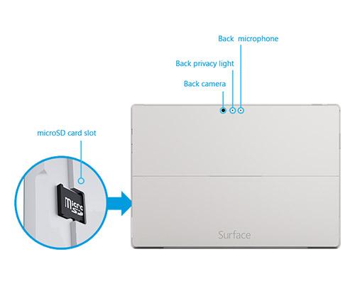 دوربین ها و پورت مخصوص کارت حافظه تبلت ویندوزی دست دوم Micosoft Surface Pro 3