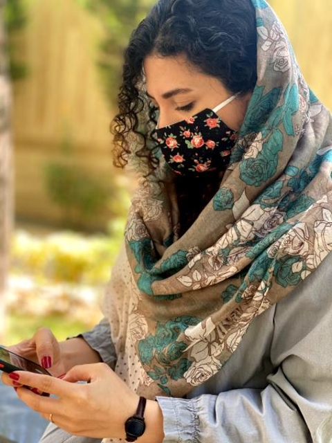 ماسک پارچه ای با آستر اسپان بیمارستانی قابل شستشو کد 118