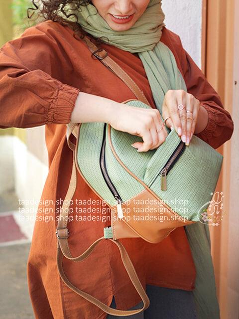 کوله پشتی چرمی مدل ترنم - ترکیب سبز و قهوه ای