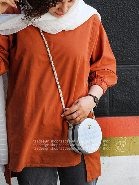 کیف دوشی گرد طرح شنل _ سفید