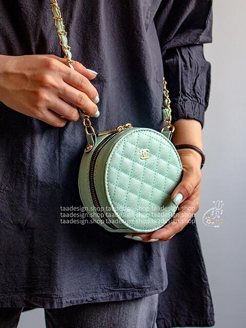 کیف دوشی گرد طرح شنل _آبی تیفانی