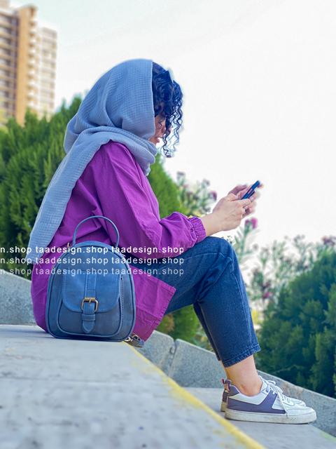 کیف دوشی 3کاره چرمی دخترانه/طوسی