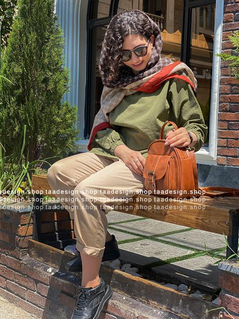 کیف دوشی 3کاره چرمی دخترانه/قهوه ای عسلی
