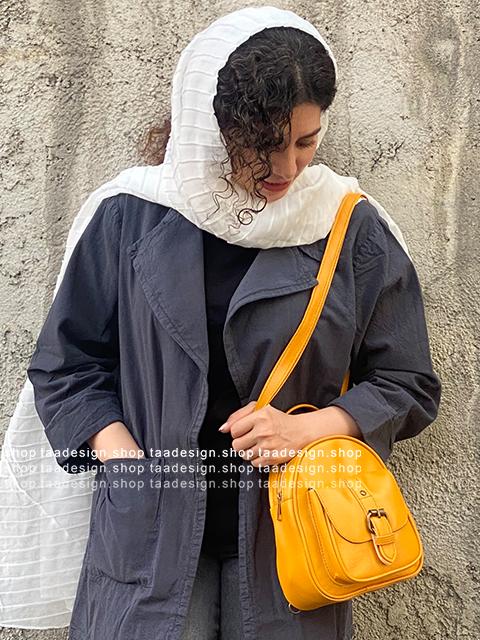 کیف دوشی 3کاره چرمی دخترانه/زرد