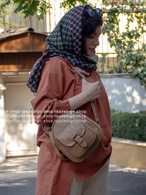 کیف دوشی 3کاره چرمی دخترانه/کرم نسکافه ای